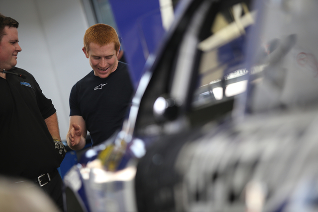 Crew members for Cole Whitt (98), center, speaks with a team member during Sprint Cup testing on Thursday, Mar. 3, 2016 at Las Vegas Motor Speedway. Brett Le Blanc/Las Vegas Review-Journal Follow  ...