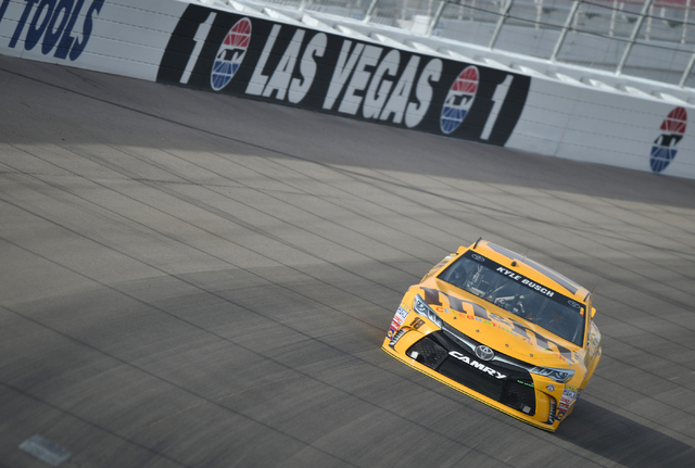 Kyle Busch pilots his #18 Toyota Camry into turn one during Sprint Cup testing on Thursday, Mar. 3, 2016 at Las Vegas Motor Speedway. Brett Le Blanc/Las Vegas Review-Journal Follow @bleblancphoto