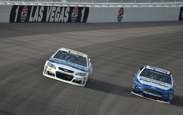 Michael McDowell (95) and Ricky Stenhouse Jr (17) go two-wide into turn one during Sprint Cup testing on Thursday, Mar. 3, 2016 at Las Vegas Motor Speedway. Brett Le Blanc/Las Vegas Review-Journal ...