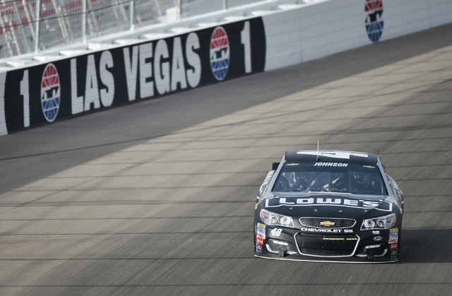 BRETT LE BLANC/LAS VEGAS REVIEW-JOURNAL / FOLLOW HIM @BLEBLANCPHOTO Jimmie Johnson drives his No. 48 Chevrolet into Turn 1 during Sprint Cup testing at Las Vegas Motor Speedway on Thursday for tod ...