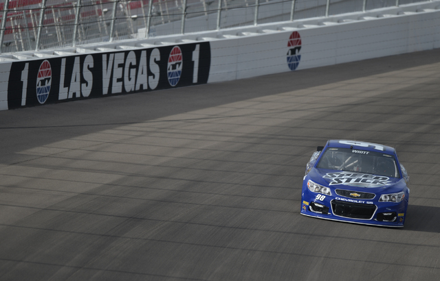 Cole Whitt (98) dives into turn one during Sprint Cup testing on Thursday, Mar. 3, 2016 at Las Vegas Motor Speedway. Brett Le Blanc/Las Vegas Review-Journal Follow @bleblancphoto