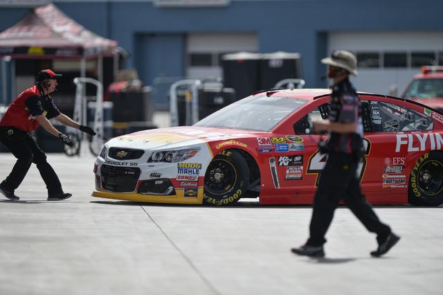 Kobalt 400 driver Michael Annett (46) pulls out of his garage stall during Sprint Cup testing on Thursday, Mar. 3, 2016 at Las Vegas Motor Speedway. Brett Le Blanc/Las Vegas Review-Journal Follow  ...