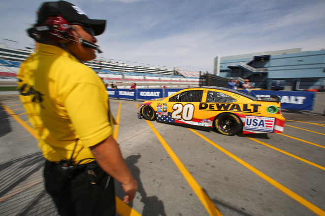 Matt Kenneth takes his #20 Toyota Camry out of the garage are and onto the track during Sprint Cup testing on Thursday, Mar. 3, 2016 at Las Vegas Motor Speedway. Brett Le Blanc/Las Vegas Review-Jo ...