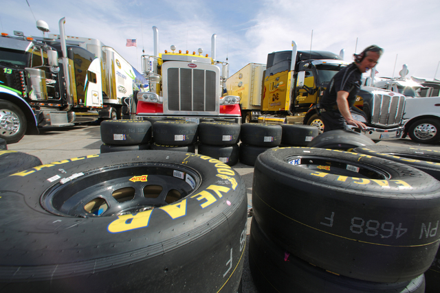 Tires are organized in the garage area during Sprint Cup testing on Thursday, Mar. 3, 2016 at Las Vegas Motor Speedway. Brett Le Blanc/Las Vegas Review-Journal Follow @bleblancphoto