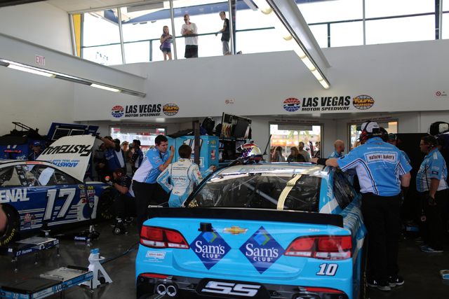 Crew members of Kobalt 400 drivers Danica Patrick (10) and Ricky Stenhouse Jr (17) work on their cars during Sprint Cup testing on Thursday, Mar. 3, 2016 at Las Vegas Motor Speedway. Brett Le Blan ...