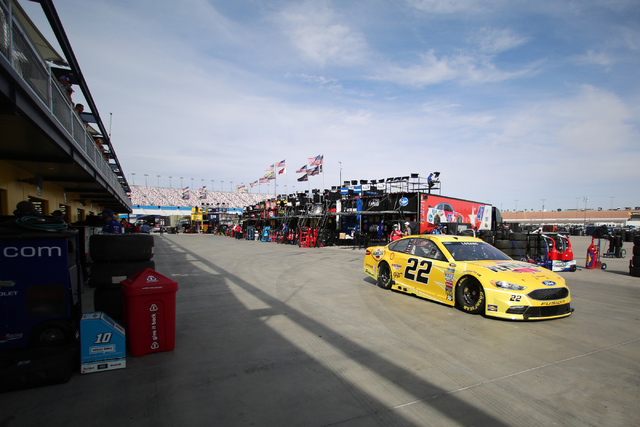 19th Annual Kobalt 400 driver Joey Logano (22) drives his car to the track during Sprint Cup testing on Thursday, Mar. 3, 2016 at Las Vegas Motor Speedway. Brett Le Blanc/Las Vegas Review-Journal  ...