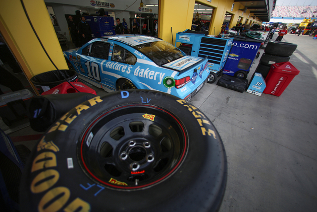 19th Annual Kobalt 400 driver Danica Patrick (10) pulls out of her pit stall during Sprint Cup testing on Thursday, Mar. 3, 2016 at Las Vegas Motor Speedway. Brett Le Blanc/Las Vegas Review-Journa ...