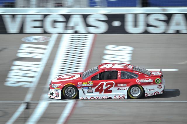 Kobalt 400 driver Kyle Larson (42) crosses the start finish during Sprint Cup testing on Thursday, Mar. 3, 2016 at Las Vegas Motor Speedway. Brett Le Blanc/Las Vegas Review-Journal Follow @bleblan ...