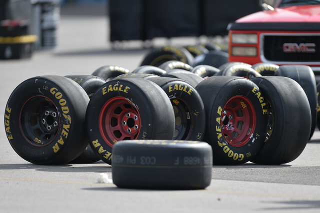 Used tires sit outside of the garage area during Sprint Cup testing on Thursday, Mar. 3, 2016 at Las Vegas Motor Speedway. Brett Le Blanc/Las Vegas Review-Journal Follow @bleblancphoto