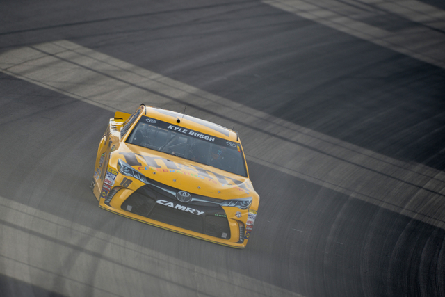Kyle Busch (18) pilots his Toyota Camry through turn one during Sprint Cup testing on Thursday, Mar. 3, 2016 at Las Vegas Motor Speedway. Brett Le Blanc/Las Vegas Review-Journal Follow @bleblancphoto