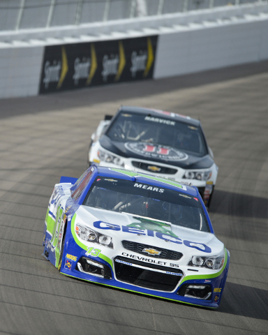 Casey Mears (13) leads Kevin Harvick (4) into turn one during Sprint Cup testing on Thursday, Mar. 3, 2016 at Las Vegas Motor Speedway. Brett Le Blanc/Las Vegas Review-Journal Follow @bleblancphoto
