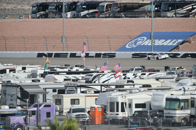 Landon Cassill (38) drives down a back stretch littered with motorhomes during Sprint Cup testing on Thursday, Mar. 3, 2016 at Las Vegas Motor Speedway. Brett Le Blanc/Las Vegas Review-Journal Fol ...