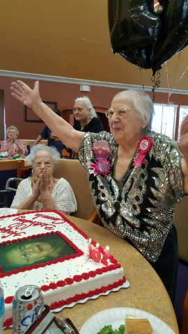 """Carmela Wojcik celebrates Feb. 26 in anticipation of her 100th birthday, which was on Feb. 29. A resident of the Spring Valley area, she said, """"If I knew the secret, I wouldn't tell anyone. I woul ..."""
