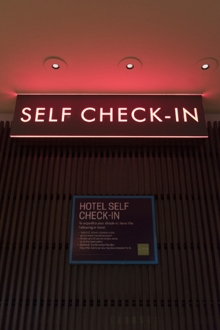 Signage for the seven new self check-in kiosks located in the lobby at The Linq Hotel in Las Vegas is seen Wednesday, March 16, 2016. Jason Ogulnik/Las Vegas Review-Journal