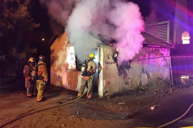 A fire damaged a small apartment building at 247 W. Baltimore Ave., near the Stratosphere, early Friday morning, March 18, 2016. (Twitter/Las Vegas Fire Department)