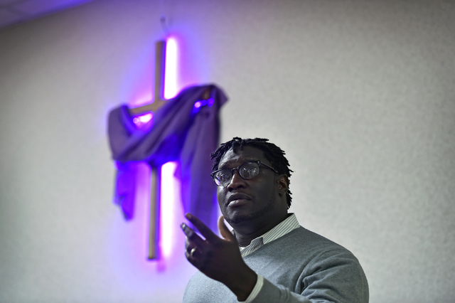 Faith organizer Ender Austin of Nevadans for Background Checks speaks at the Journey United Methodist Church Monday, March 14, 2016, in Las Vegas. David Becker/Las Vegas Review-Journal Follow @dav ...