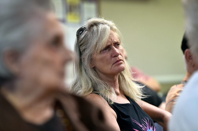 Terri Kelch listens during an informational meeting on a proposed gun background check initiative at the Journey United Methodist Church Monday, March 14, 2016, in Las Vegas. David Becker/Las Vega ...