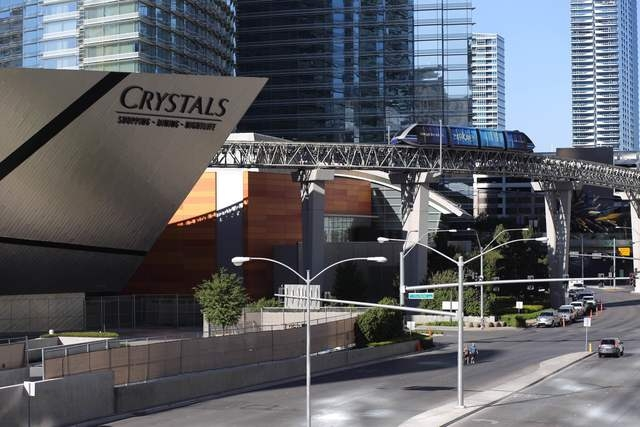 A tram passes by The Shops at Crystals and Aria hotel-casino in Las Vegas on Friday March 18, 2016. (Brett Le Blanc/Las Vegas Review-Journal) Follow @bleblancphoto