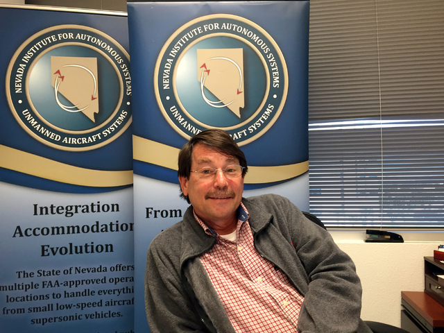 Mark Barker of Nevada Institute for Autonomous Systems discusses the state's drone test flight program during an interview at his Las Vegas office March 14, 2016. Keith Rogers/Las Vegas Review-Journal