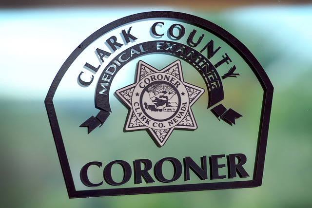 The logo for the Clark County Coroner is seen on Friday, Oct. 17, 2014. (David Becker/Las Vegas Review-Journal)