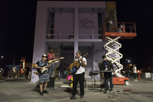 We Are Pancakes performs during the illumination ceremony for the Life Cube in the Llama Lot at Fremont Street and 9th Street in Las Vegas Saturday, March 19, 2016. The ceremony kicks off two week ...