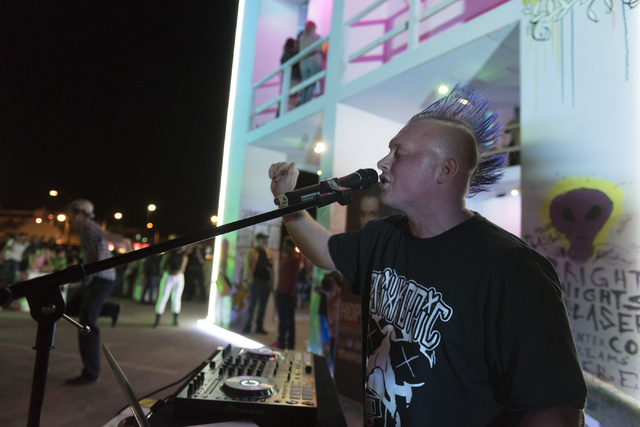 DJ Gin Jar performs during the illumination ceremony for the Life Cube in the Llama Lot at Fremont Street and 9th Street in Las Vegas Saturday, March 19, 2016. The ceremony kicks off two weeks of  ...