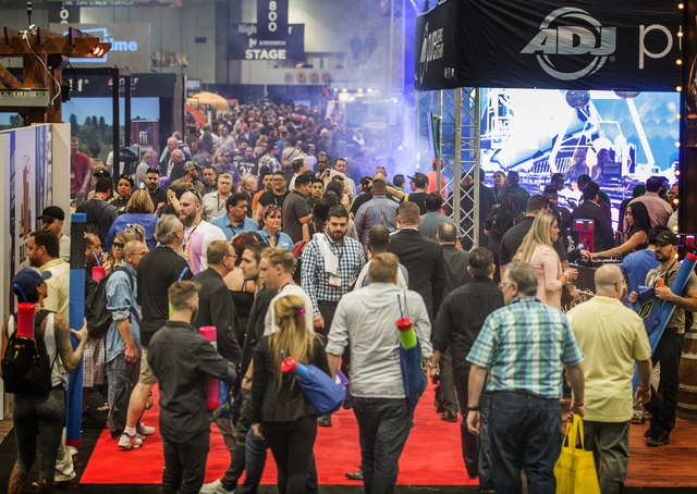 Thousands of people roam the  booths at the Nightclub & Bar Convention & Trade Show in the Las Vegas Convention Center on Tuesday,  March 8, 2016. Jeff Scheid/Las Vegas Review-Journal Foll ...