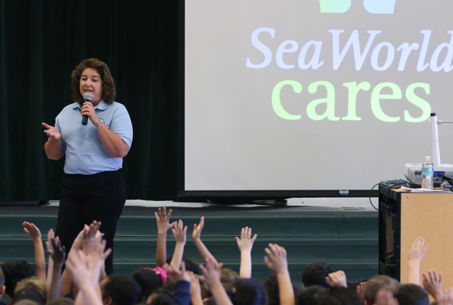 Marcy McClure speaks to children during SeaWorld San Diegoճ SeaWorld Cares program at R. Hummel Elementary School Wednesday, March 9, 2016, in Las Vegas. The outreach program informed childr ...
