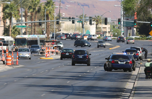 Clark County School District and Nevada Highway Patrol officers pull over motorists on Tropicana Avenue at Morris Street on Thursday, March 17, 2016. NHP, Henderson Police and CCSD police teamed t ...