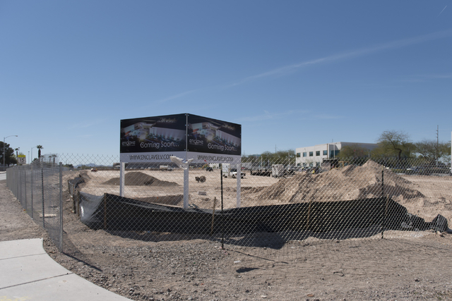 The construction site of the Enclave is seen during the groundbreaking ceremony at 5800 S. Eastern Ave. in Las Vegas Wednesday, March 9, 2016. The Enclave will feature a 75,000 square foot event v ...
