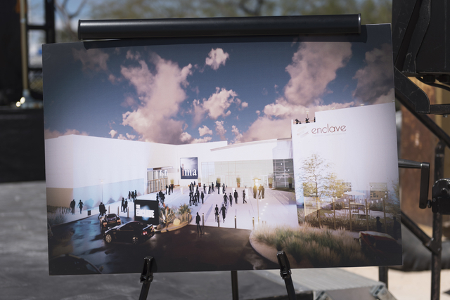 An artist's rendering showcasing the Enclave is seen at the groundbreaking ceremony for the event venue at 5800 S. Eastern Ave. in Las Vegas Wednesday, March 9, 2016. The Enclave will feature a 75 ...