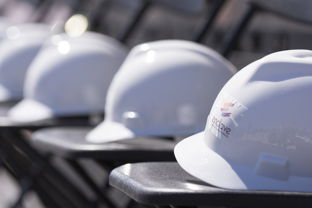 Hard hats are seen at the groundbreaking ceremony for the Enclave at 5800 S. Eastern Ave. in Las Vegas Wednesday, March 9, 2016. The Enclave will feature a 75,000 square foot event venue. Jason Og ...