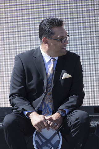 Jay Curiel of the Enclave and 3G Productions sits on the stage during the groundbreaking ceremony for the Enclave at 5800 S. Eastern Ave. in Las Vegas Wednesday, March 9, 2016. The Enclave will fe ...