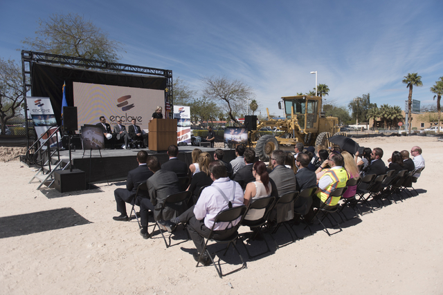 Kristin McMillan, president and CEO of the Las Vegas Metro Chamber of Commerce, speaks during the groundbreaking ceremony for the Enclave at 5800 S. Eastern Ave. in Las Vegas Wednesday, March 9, 2 ...