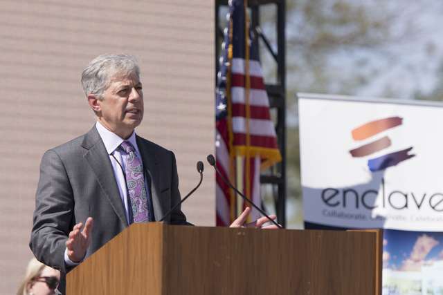 Eli Stearns of the Enclave and 3G Productions speaks during the groundbreaking ceremony for the Enclave at 5800 S. Eastern Ave. in Las Vegas Wednesday, March 9, 2016. The Enclave will feature a 75 ...