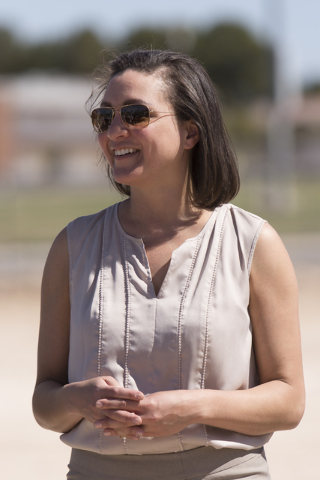 Heather Caldwell, director of meetings and special events with the Enclave, is seen at the groundbreaking ceremony for the Enclave at 5800 S. Eastern Ave. in Las Vegas Wednesday, March 9, 2016. Th ...