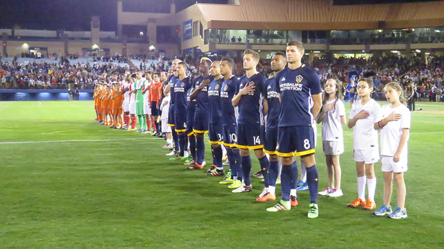 Major League Soccer's Los Angeles Galaxy and San Jose Earthquakes line up on the field before the California Classic game Feb. 13, 2016, at Cashman Field.  Erik Verduzco/Las Vegas Review-Journal