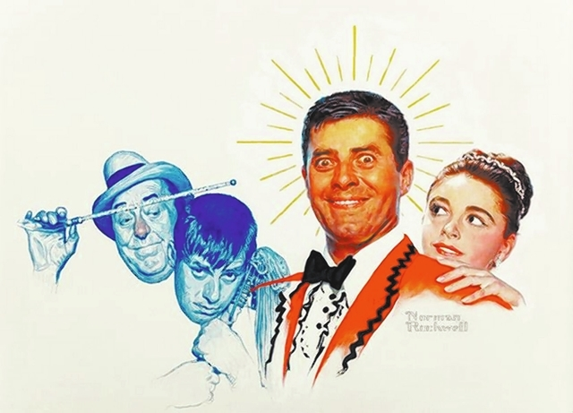 """Jerry Lewis commissioned famed artist Norman Rockwell to do this painting to promote Lewis' 1960 film """"Cinderfella"""" for $50,000. Lewis is putting it up for auction and could reap between $300, ..."""