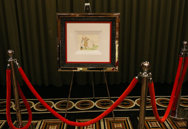 A painting that is believed by its owner to be an original early work of Andy Warhol is photographed in a private showing at Trump International Hotel Thursday, March 17, 2016, in Las Vegas. James ...