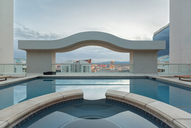 The penthouse's second level game room has a private pool and spa on the patio. (COURTESY SHAPIRO & SHER GROUP)