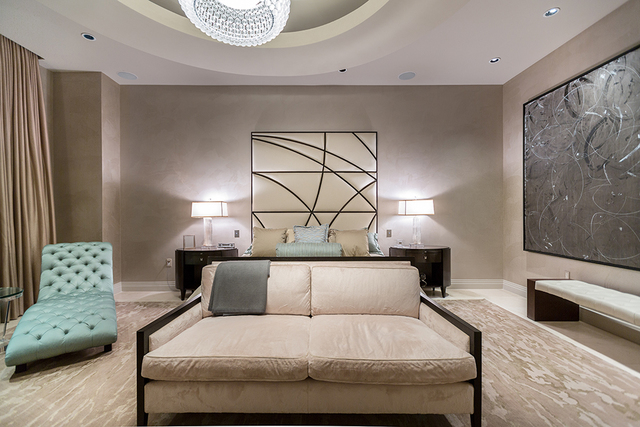 The master bedroom also has views of the Las Vegas Strip. (COURTESY SHAPIRO & SHER GROUP)