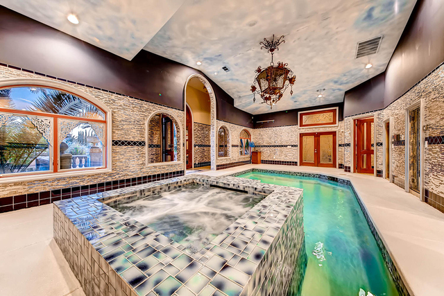 The Mansion At 8801 Palm Greens Court Features A Spa Area With An Indoor Pool Hot Tub Steam Room And Sauna Courtesy Las Vegas Review Journal