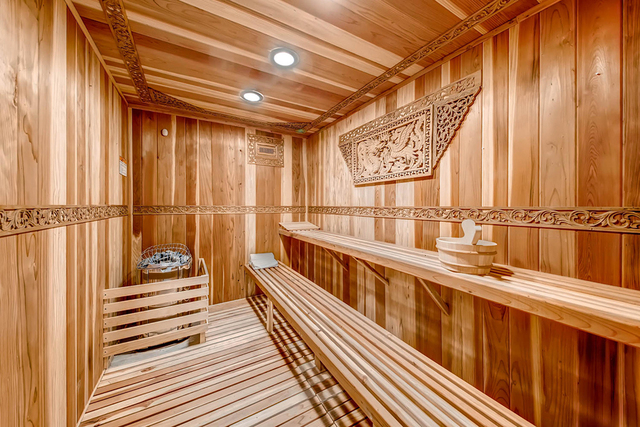 The 19,000-square-foot Tournament Hills home has a large sauna in the indoor spa area. (Courtesy)