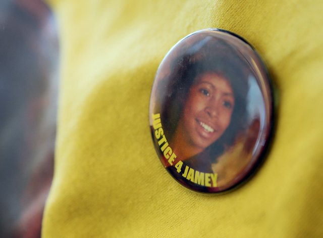A photo pin of Jamey Walker is shown on her family friend's shirt at the sentencing of Willie Shannon at Regional Justice Center Thursday, March 10, 2016, in Las Vegas. Shannon was sentenced to 15 ...