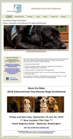The courthousedogs.com website shows Molly B at the King County Courthouse in Seattle.