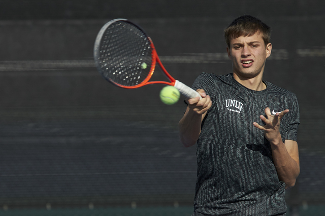 Alexandr Cozbinov. UNLV men's tennis player action on January 18, 2016. (R. Marsh Starks / UNLV Photo Services)
