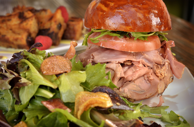 The roast beef on a house-made pretzel bun with house salad and fingerling chips at Craft Kitchen. Bill Hughes/Las Vegas Review-Journal
