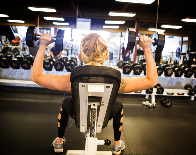 Daisy, not her real name, lift weights at 24Fitness on Wednesday, Feb. 23, 2016. Jeff Scheid/Las Vegas Review-Journal Follow @jlscheid
