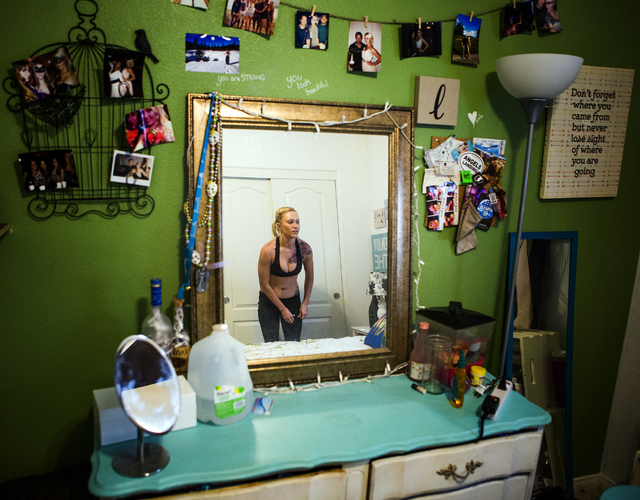 A reflection of Daisy, not her real name, while in her bedroom on Wednesday, Feb. 23, 2016. Jeff Scheid/Las Vegas Review-Journal Follow @jlscheid