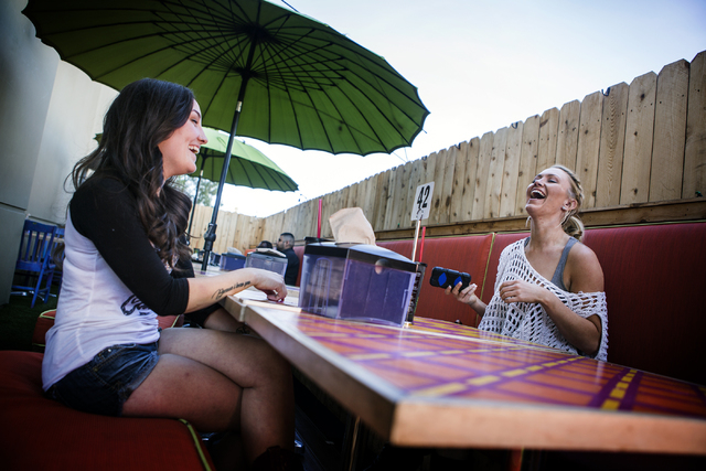 Daisy, not her real name,right, shares a laugh with her friend Brittany Gray, 26, while dining at SkinnyFATS on Wednesday, Feb. 23, 2016. Jeff Scheid/Las Vegas Review-Journal Follow @jlscheid